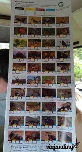 Folleto con imágenes para ir anotando los animales que se van viendo. Acá marqué los que recuerdo. Puede ser que me esté olvidando de alguna ave.